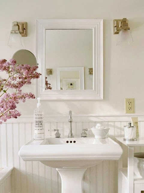 beautiful bathroom   wall color, pale beige (instead of gray?), with beadboard