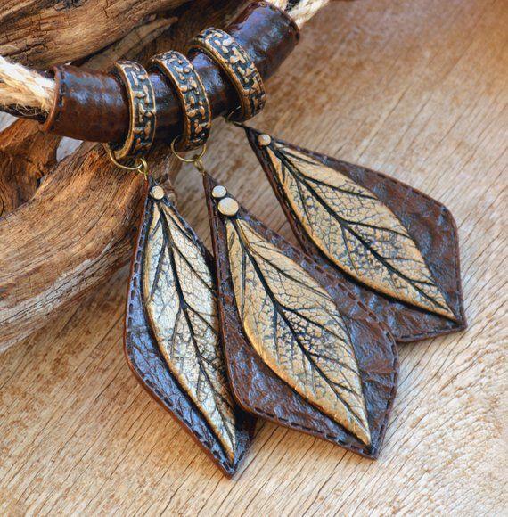 Colar de folha marrom grande Boho jóias declaração de jóias de argila do polímero para as mulheres tom de terra G   – Products