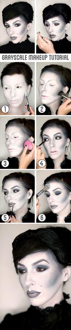 Keiko Lynn's grayscale makeup tutorial / black and white Halloween makeup.