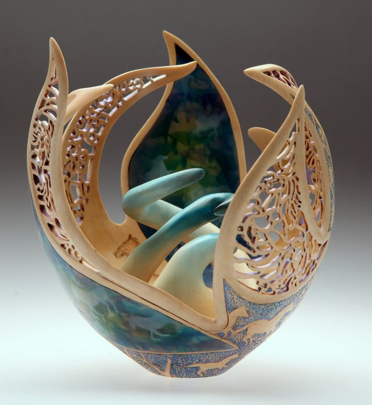"""""""Ferven's Wood"""" - Joey Richardson, artist - this gourd art is a great inspiration piece for handbuilt pottery - at least I'll try, perhaps without all the piercing details!"""