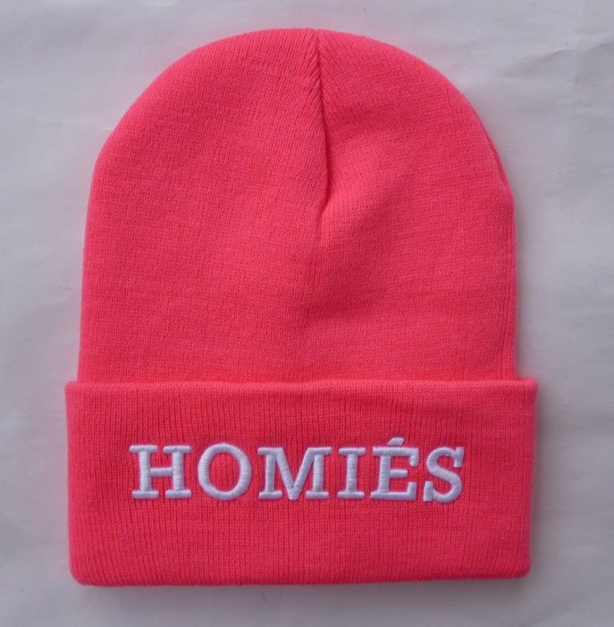 2014 new HOMIES fashion beanie hats and caps for women/girls/men sports hip hop winter knit headwear pink/black/purple/grey  US $9.99