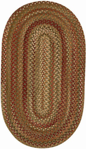 Cheap Manchester Sage Red Hues Braided Rug Size: Oval X