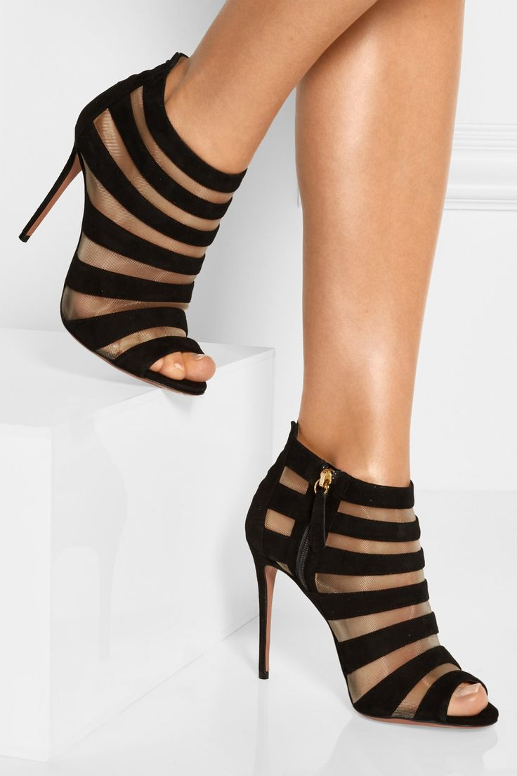 clearance find great Aquazzura Suede & Mesh Ankle Boots outlet release dates geniue stockist for sale clearance 2014 unisex outlet store online gyGDFCPNWP