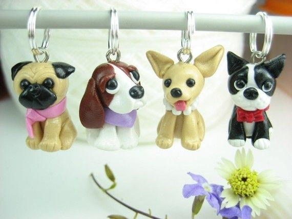 Dog Stitch Markers Set of 4 Basset hound pug by beadpassion