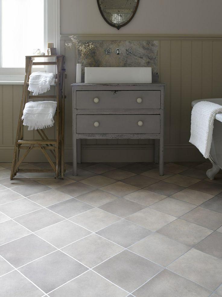 Vintage bathroom ideas with sleek grey tile effect vinyl flooring. #interiors #home #homesweethome #bathroom #ideas #interiordesign #design #bath #utility #sink #ladder