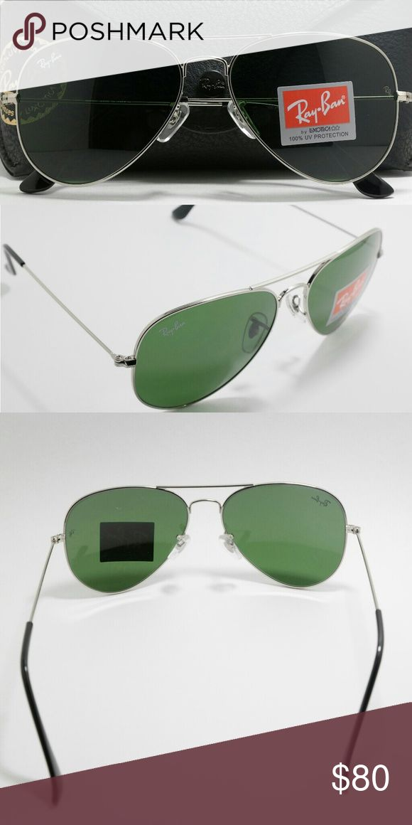NWT classic Ray Ban silver Aviator RB3025 62m Brand new Aviator RB3025 Ray Ban sunglasses. With classic silver frame and 62mm G-15 lenses. These sunglasses are unisex and look good on both women and men. Comes with cleaning cloth, case, and box. Asking $8
