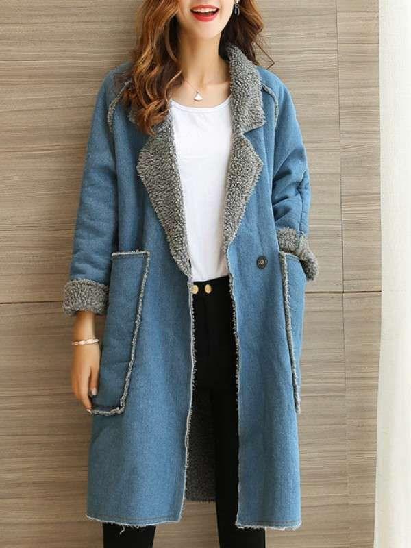ファッションカジュアル長いスーツの襟ポケット付きブルー切り替えアウタームートンコート - レディースファッション激安通販 20代·30代·40代ファッション