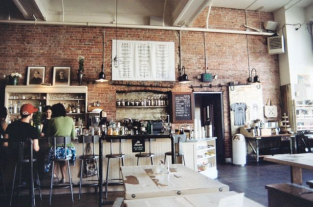 Wow wow love this coffee shop. esp the brick!