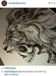 Image Result For Human Skull Lion Mane Tattoos Tattoos Lion