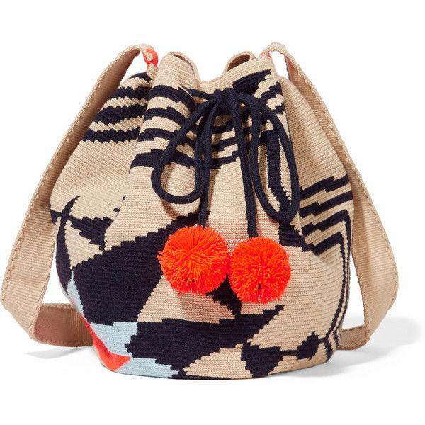 Sophie Anderson Lilla crocheted cotton shoulder bag found on Polyvore featuring bags, handbags, shoulder bags, bucket bags, neutrals, macrame handbags, neon purse, beach handbags, shoulder hand bags and neon handbags