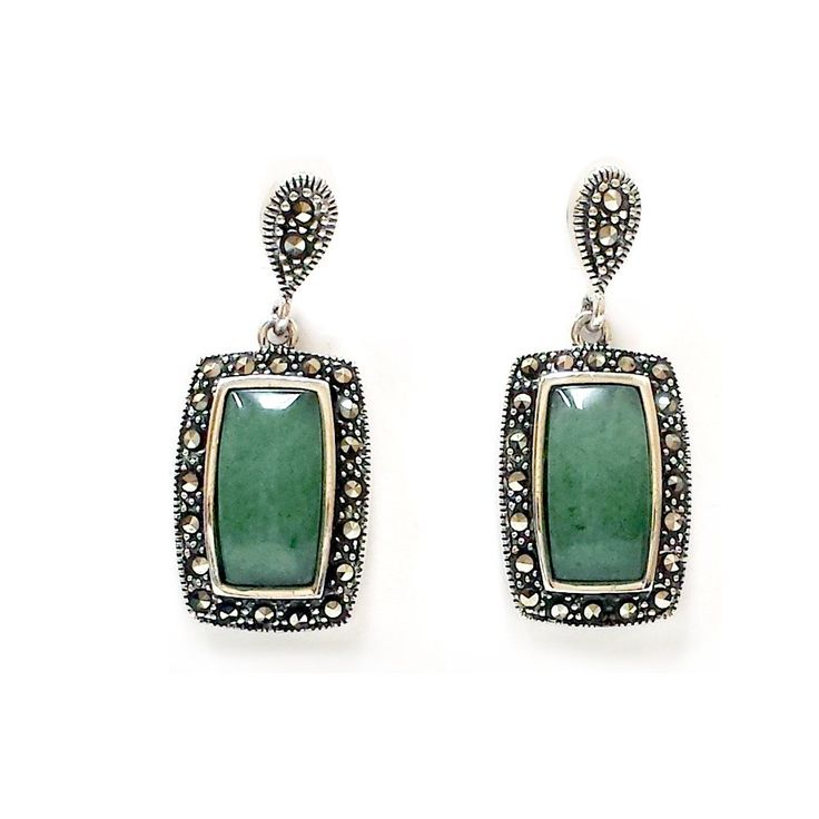 .925 Sterling Silver New Jade with Marcasite Dangle Earrings: