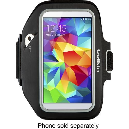 Belkin - Sport-Fit Plus Armband for Samsung Galaxy S 5 Cell Phones - Black - Front Zoom