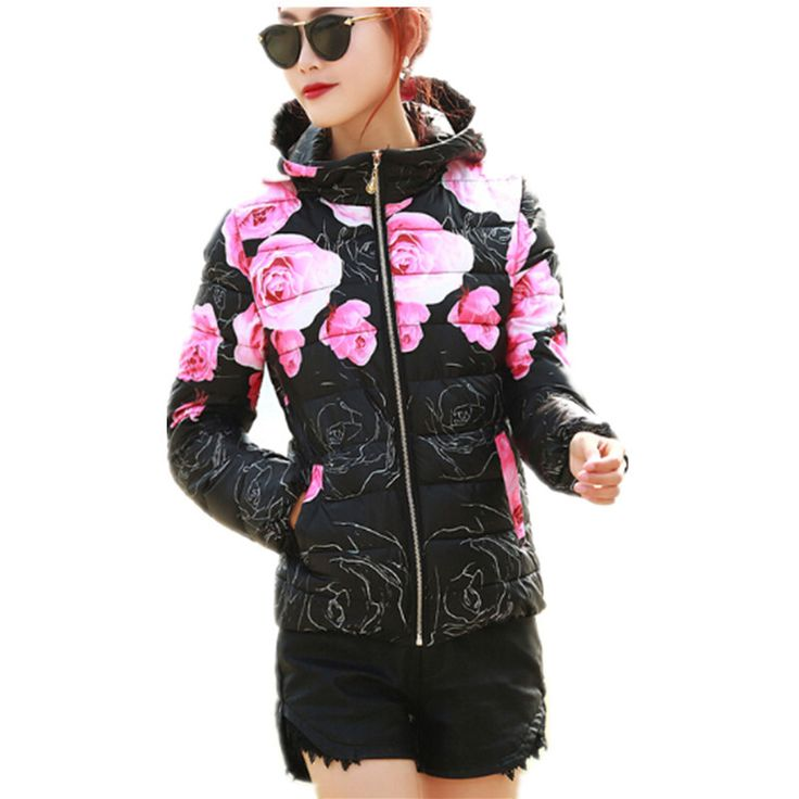 Winter Coat Long Sleeve Print Floral Hooded Slim Winter Parka Cotton-Padded Jackets