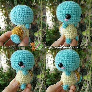 Squirtle, Zenigame Pokemon Doll - Free English Pattern and Videotutorial here: http://amigurumipianosound.blogspot.com.es/2016/04/squirtle-zenigame-pokemon-pattern.html