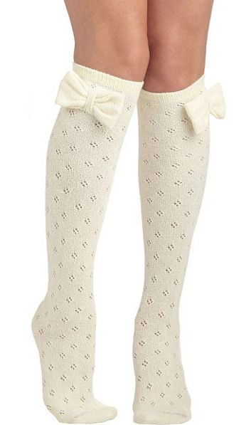 Bow Knee High Socks ♥ SO cute! great with boots