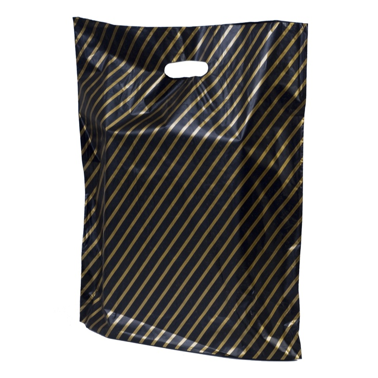 Black And Gold Stripe Design Plastic Merchandise Bags Http Www Carrierbag