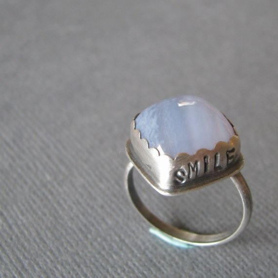 Affirmation Blue Lace Agate SMILE Ring