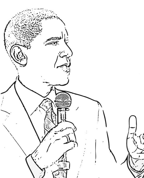 Barack Obama Barack Obama Giving Speech Coloring Page