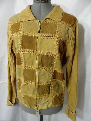 DESIGNER ORIGINALS Suede Leather Sweater Jacket SM Tan Beige Zip up Vintage Coat
