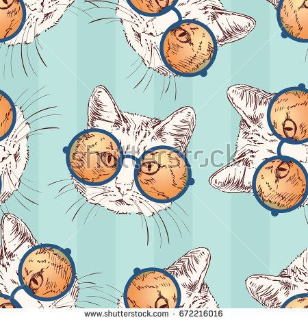Seamless vector pattern with sketch of cat wearing orange round glasses, isolated head on green striped background