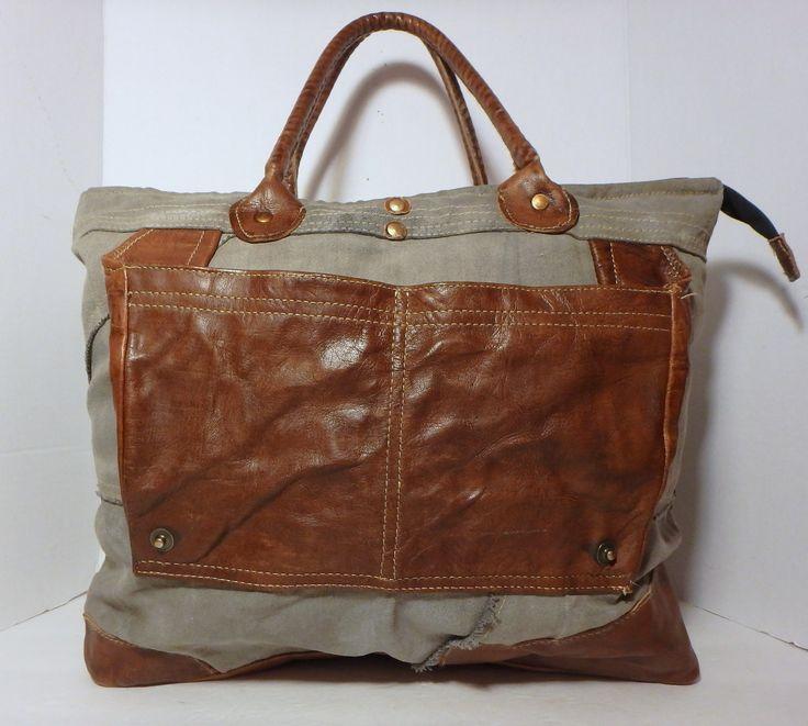 MONA B Dakota Style Canvas Leather Trim XL Tote Handbag Purse