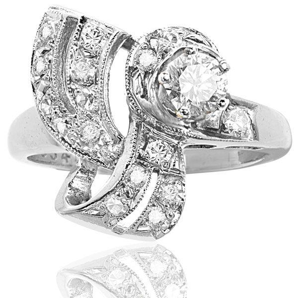 Retro Diamond Ring set in 18 Carat White Gold