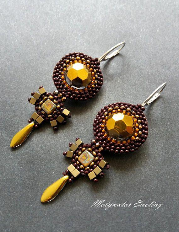 Golden Brown Earrings with Hematite