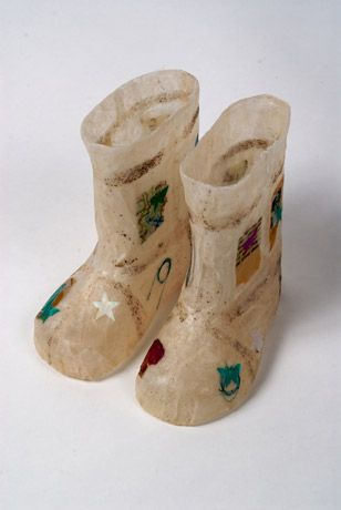 Jennifer Collier - Teabag Wellingtons, 25 x 20 x 12cm, made from teabags, found objects and wax.