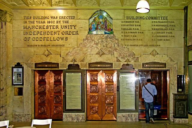 """Manchester Unity Building, Melbourne. Lifts on ground floor arcade. """"This building was erected in the Year 1932 by the Manchester Unity Independent Order of Oddfellows"""" Can't love this enough."""