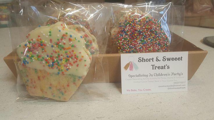 Choc Dipped Sprinkle Cupcake Cookies