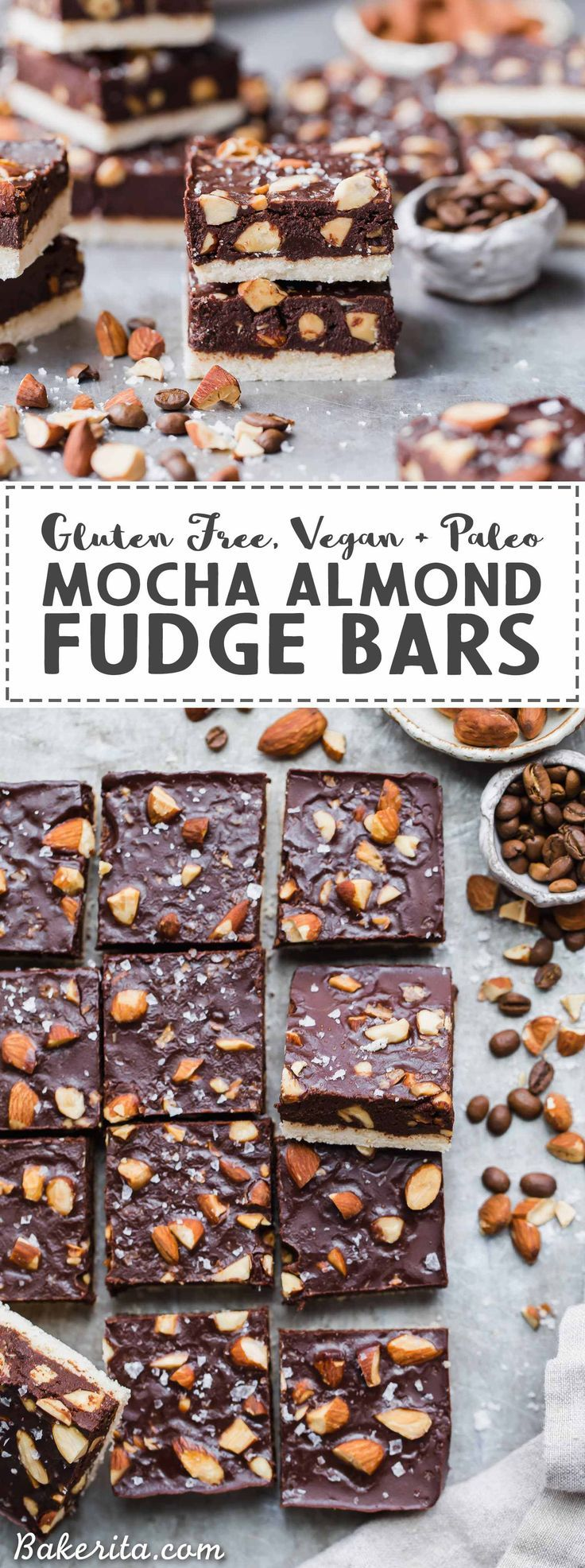 These Mocha Almond Fudge Bars are incredibly rich and delicious, with a chocolate-coffee fudge studded with crunchy almonds, all sitting on top of a simple shortbread crust. These gluten-free, paleo and vegan fudge bars are irresistible!