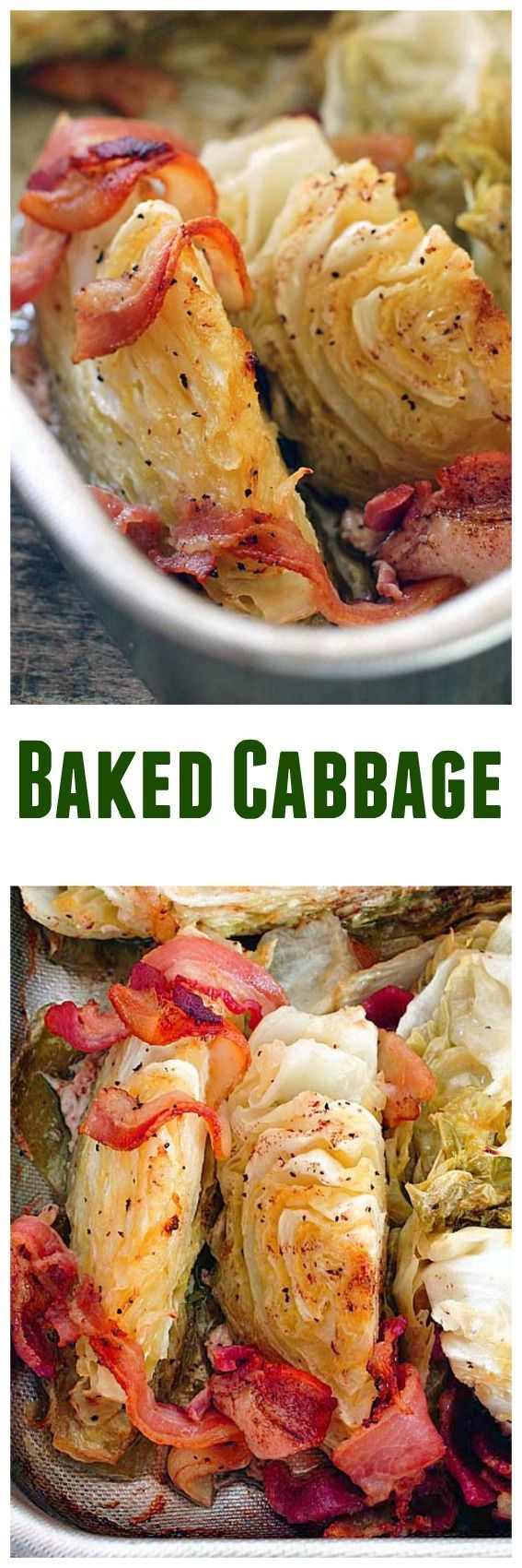 Baked Cabbage - Made in a roasting pan in the oven this is a delicious way to enjoy cabbage!  Your family will love it! (Baking Cauliflower In Oven)
