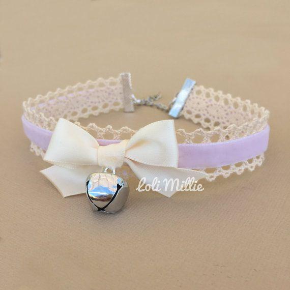 Lavender Kitty Bell Chokers - Kawaii Hime Gyaru Sweet Gothic Lolita Choker Chocker Bow Necklace Pastel Fairy Kei
