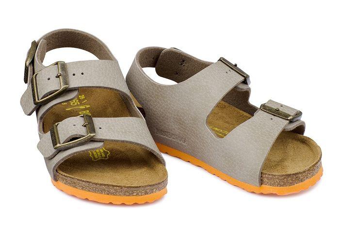 Sandale Birkenstock Milano gris enfant birko-flor® grainé (desert soil taupe / ls orange) - BK035183 | Birkenstock France