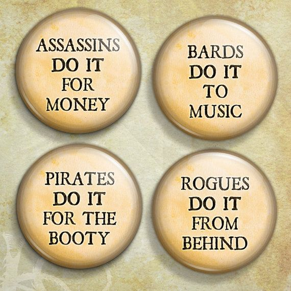 d20 Fantasy Game Scoundrel Class Sexy Innuendo Pinback Button Badge 4-Pack lmao