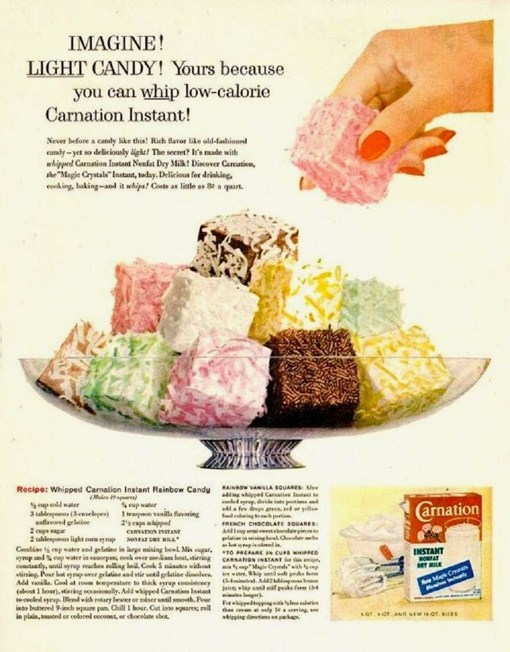 Farm Girl Pink....: ~ Vintage recipe - Whipped Carnation Instant Rainbow Candy...