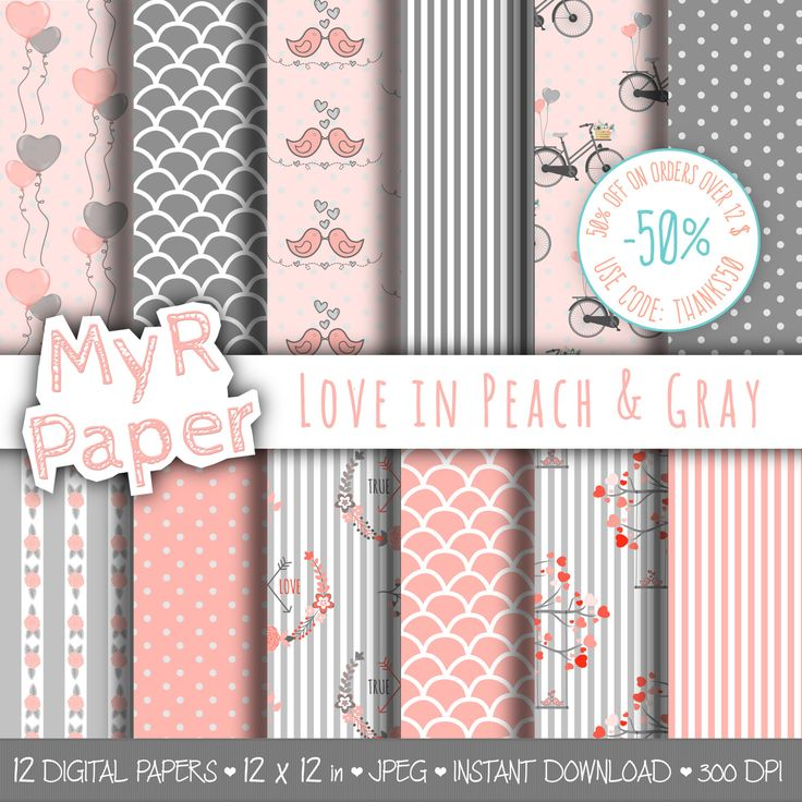 "Valentines Digital Paper: ""Love in Peach & Gray"" for scrapbooking, invite, card – perfect for Valentine's day and Shabby Chic projects di MyRpaper su Etsy"