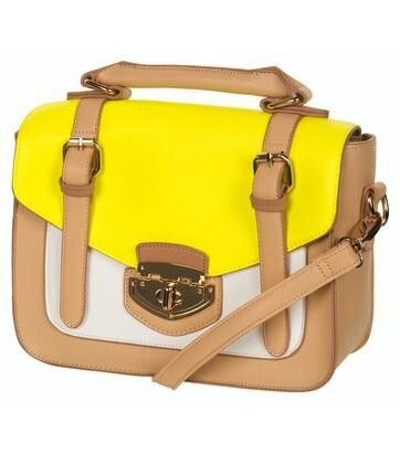Cute neon yellow handbag Neon gele tas