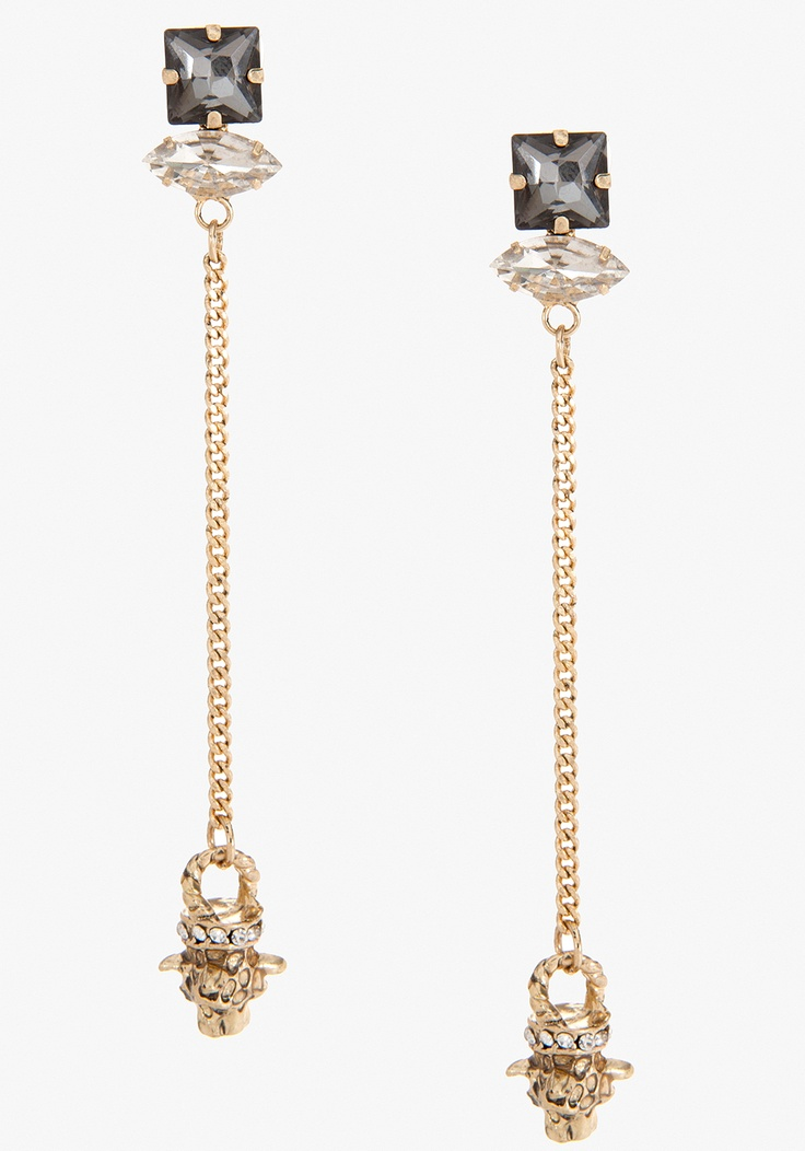Instant glam! bebe Stone & Tiger Drop Earring