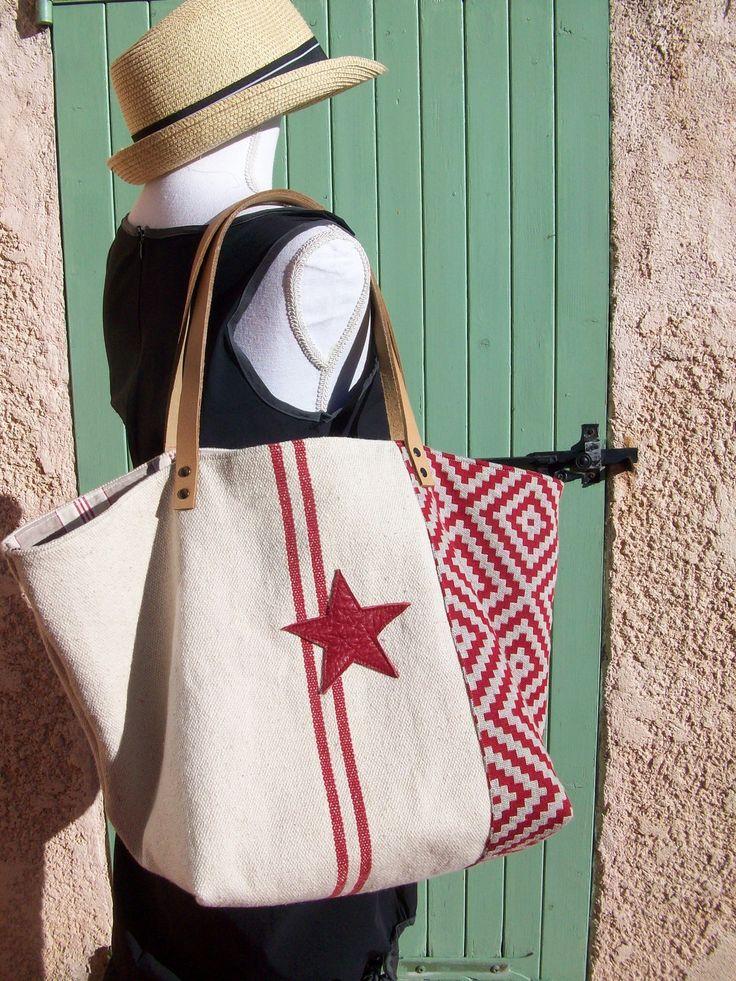 Sac cabas en toile de coton rustique uni et ethnique , étoiles et anses en cuir : Sacs à main par cocoon-by-ln