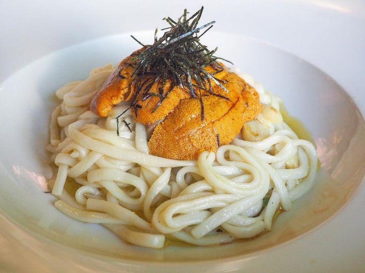 Feeding my uni obsession. Couldn't resist this UNI AGLIO E OLIO UDON at Green Leaf Sushi Cafe with sea urchin shiitake mushroom and thin udon.  #yvrfood #yvreats #uni #uniseason #seaurchin #seaurchinpasta #seaurchinlove #japanesefood #mfinyvr #greenleafsushi