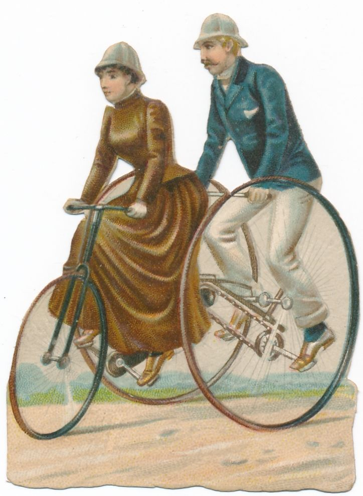 Very  Rare victorian DIE CUT 1890 s bike penny farthing bicycle AT
