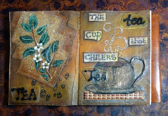 Art jounal page - The Cup that Cheers. Mixed media incorporating tea bags and real tea.