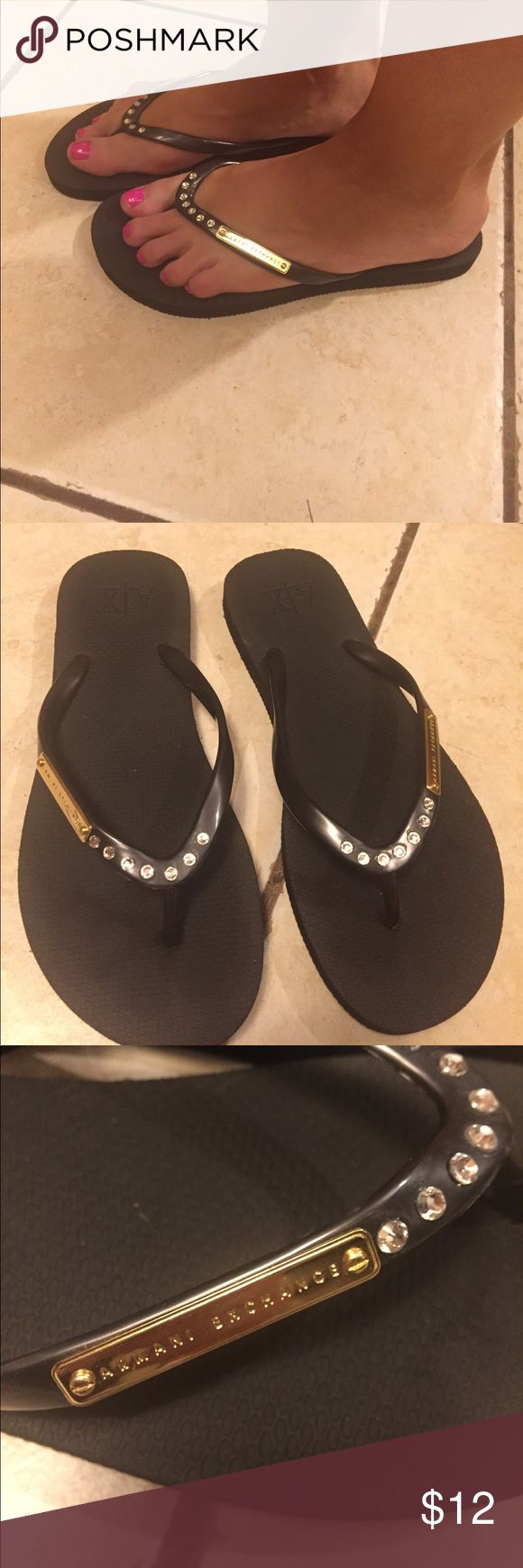 Armani Exchange Flip Flop Armani Exchange Flip Flop  size 7 with crystals Armani Exchange Shoes Sandals