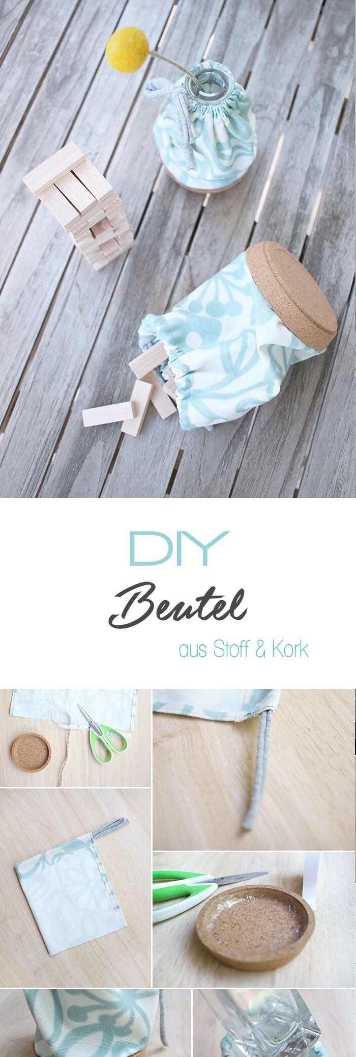 Dani von Gingered Things zeigt dir auf ihrem DIY Blog wie du aus Stoff und einem Korkuntersetzer ganz fix einen tollen Beutel machen kannst. Kreative Deko und Geschenk.