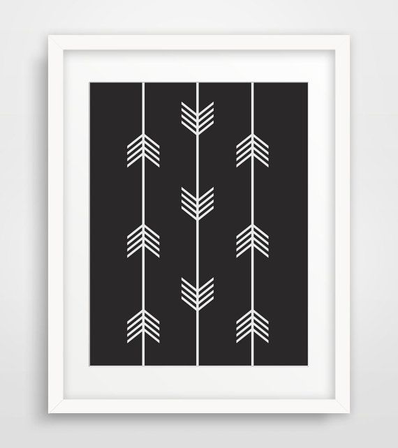 Tribal Arrows Print Black and White by MelindaWoodDesigns on Etsy #arrowart