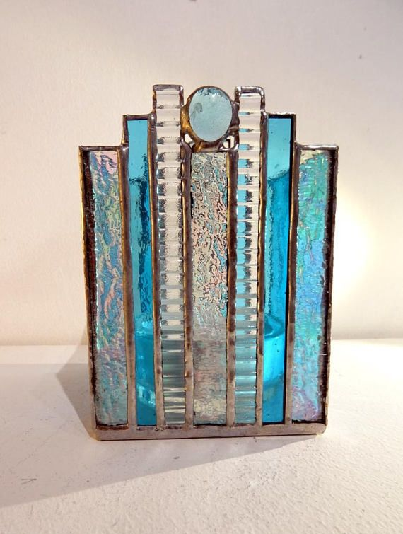 Large Tiffany stained glass candle holder turquoise and