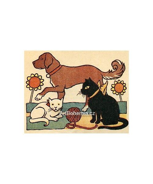 Josef Lada: Abecede, kočka přede, kocour motá, pes počítá... (Moje abeceda), 1923 | 10×12 cm