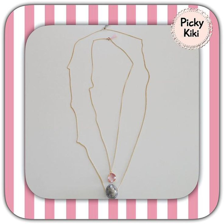 Handmade pendant set with gold chain, a gray porcelain bead,a pink element and tassels at the end of the chains | Fall-WInter Collection 2015 -'16 | Picky Kiki Accessories