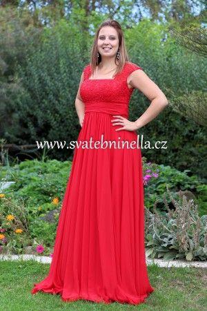 Červené dlouhé plesové společenské šaty . Ceny na www.svatebninella.cz   #plesovéšaty, #maturitníšaty, #večerní #šaty, #půjčovnašatů, Svatební studio Nella, Česká Lípa